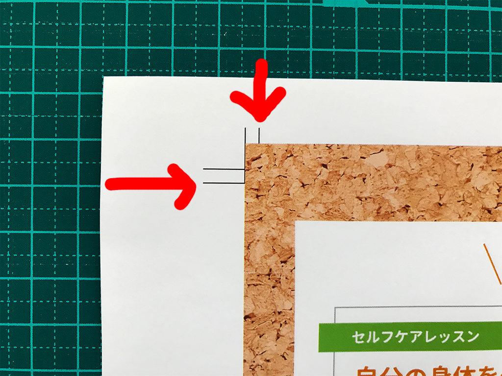 赤い矢印で指したのがカットに使うトンボの内側の線
