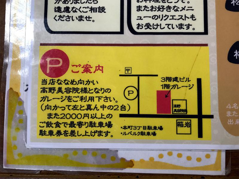 箱岩の駐車場案内図
